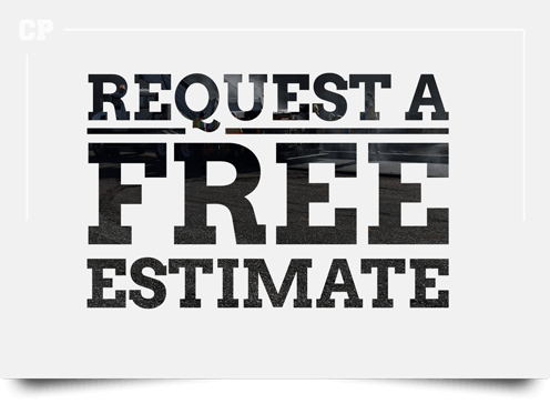 "Text that reads ""Request a free estimate"" in bold black font over white background"